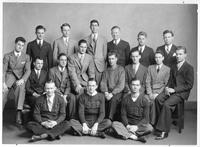 Alpha Delta Psi Fraternity poses for a portrait.