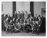 A group portrait of Kappa Phi Delta Fraternity members.