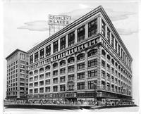 A rendering of the exterior of the Crowley-Milner Department Store.