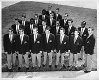 The 1957 Men's Glee Club poses for a portrait.