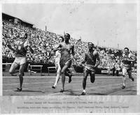 National Senior AAU Championship at Randall's Island, June 20, 1942. Qualifying heat--Bob Wingo qualifying for finals. Cliff Bourland first, Jimmy Herbert, second.