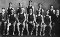 Basketball 1922-1923, Won 12, lost 5. Back Row: Weldon, Harris, Martin, Townsend, Miller. Front Row: Grinnell (Manager), Ertell, Cunningham, Lightbody (Captain), Edwards, Davidow, D.L. Holmes (Coach).