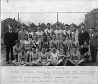 Varsity Track 1926. Top Row: Puddiford, Mgr., Thurman, Horn, Warrinre, Hallock, Zuber, Doherty, Lampman, Wickham, D.L. Holmes, Coach, N. Stockmeyer, Asst. Mgr. Middle Row: Streng, Pauschert, Griffiths, Blanchard, Hill, Spence. Bottom Row: Lange, Cutler, Kay, Stuart, Brown, Beyer, Davis.