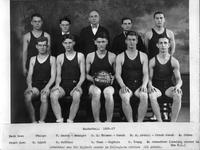 Basketball 1926-27. Back Row: Phelps, F. Rasch - Manager, D.L. Holmes - Coach, N.H. Ertell - Frosh Coach, M. Cohen. Front Row: O. Linck, O. Robbins, R. Gunn - Captain, C. Young, M. Schechter (leading scorer in the University's.). Schechter was the highest scorer in Collegiate circles 221 points.