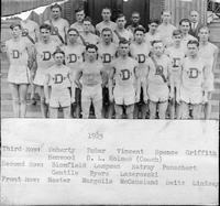 1925. Third Row: Doherty, Zuber, Vincent, Spence, Griffith [sic], Henwood, D.L. Holmes (Coach). Second Row: Bloomfield, Lampman, Ratray, Pauschert, Gentile, Byers, Lazarowski. Front Row: Hester, Margolis, McCausland, Seitz, Lindsay.