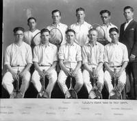 Tennis 1925 C.C.D.'s first team in this sport. Back Row: Stein, Chapman, Roguoy, Weldon (Manager). Front Row: Small [sic], Perring, Swan, Davey, Goodman.
