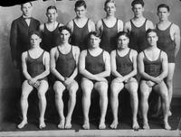 wimming 1925. First team ever tried out in this sport. Back Row: Brabyn (Manager), Stecker, Dickerson, Chaffee, McClelland, Bierwirth. Front Row: Cork, Jeffries, Peckham (Captain), Saperstein, Benjamin.