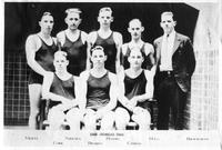 1926 Swimming Team. Back: Mertz, Nielsen, Peters, Hogg, Bierworth. Front: Cork, Brabyn, Campau.