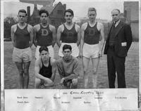 1931 Cross Country Team. Back Cannell, Bailor, Cantine, Langtry, D.L Holmes. Front: Richard, Eyster.