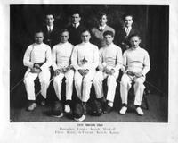 Portrait of the 1935 Fencing Team. Back: Durocher, Eizaks, Koish, Minkoff. Front: Pleut, Robb, deTuscan, Korch, Kanut.
