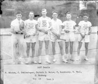 The 1937 tennis team. Won 15, lost 3. F. Winton, J. Schlesinger, R. Balow (Capt) P. Kondrasky, W. Maul, S. Rotberg.