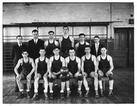 The 1936-1937 Basketball team poses for a portrait.