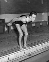 A swimmer in ready position. Andy Clark, 1940-1941. NCAA 440 yard Freestyle Champion, 1940.