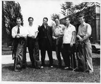 1941 Golf Team poses for an informal portrait. Pikulinski, Stillwell, Coach Sheriff, Capt. Latos, Egleston, Howard