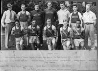 (Mile Relay Team of Wingo, Grant, Wright, Doan won at the Penn Relays with 3:19.1) Back Row: D.L. Holmes (Coach), Brennan Clark, Ralph Betker, Bob McKenna, George gambis, Carl Nagy, Guy Lumsden. Front Row: Erwin Weiler, Bob Wingo, Chuck Doan, Bob Grant, Lin Wright. (Art Seigel was also on the team, but not pictured here).