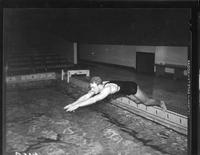 A swimmer dives into the pool.