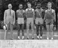 Portrait of the 1942 Track relay Team. National AAU 1600 m Relay Champions 6/22/42. Passaic, NJ, Time: 3:18.7. D.L. Holmes (Coach), Robert Wingo, Wayne Hatfield, Linwood Wright, Robert Grant.