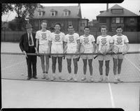 1942 Tennis team. Wann, Miller, Fowler, Shekerjian, Warshawsky, Capt. Promack, unnamed person.