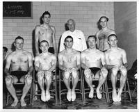 A portrait of the 1956-1957 swim team.
