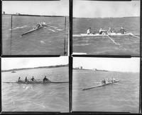 The rowing team on the Detroit River.