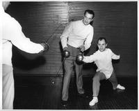 Fencing Coach Damosi & Bruce Davis, WSU National Collegiate Athletic Assoc. Foils Champion 1957 and 1958.