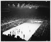 An elevated shot of the basketball court during a game.