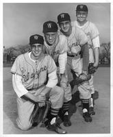 TOP ROOKIES---Wayne State's baseball team will be considerably stronger this year with the addition of these four sophomores. The Tartar rookies are (left to right) Bob Wright, a sharp lefthanded pitcher; Larry Thow, former American Legion batting champ who will hold down the right field berth; Larry Cook, a third baseman who may be the best of the bunch, and Joe Francis, a husky right handed pitcher.
