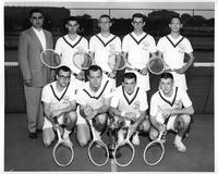 Portrait of the 1959 tennis squad with a trophy.
