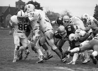 1985 football action shot at Homecoming game versus Northwood.