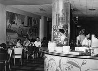 1943 (circa) shot of a soda bar in Webster Hall that served hamburgers, etc.