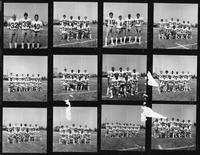 Contact print of sixteen 2x2 negatives of the football team.
