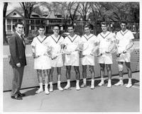 Portrait of the 1960 tennis team. Coach Mulhauser, Sponberger, Pon, Hayes, Worobheird, Bayajian
