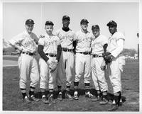 Members of 1961 basball team. Ed Segowski, Glynn Goodwin, Jin Spivey, Dick Ruggeroli, Ron Vermeersch, Don Johnson