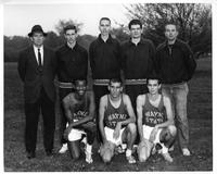 Portrait 1961 cross country squad. Back: Coach Frank McBride, Dave Buka, Capt. Fred Delcomym, Dave Spore, Mgr. Bob Morris. Front: Tony Rivers, Dom Balten, George Bondy.
