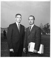Portrait of Gus MacKenzie and Dick Lisabeth of the football program.
