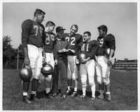 Northwest Detroit gridders on the Wayne State football team this fall are (L-R) tacle Mike Lieberman, guard Mike Weisenfeld, Wayne State Head Football Coach Hal Willard, end Bob Swallow, halfback Brian Hitsky and center Jim Risto.