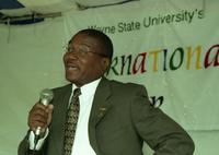 President Irvin Reid at the International Fair.
