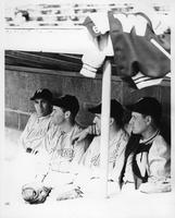 The dugout of 1949 baseball.
