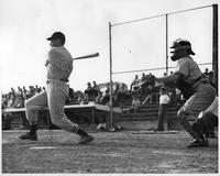 Action shot 1949 baseball.