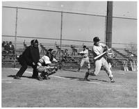Action shot 1952 baseball.