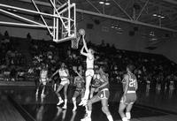 A 1985 basketball action shot versus Ferris State.