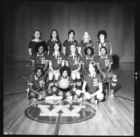 Group portrait of the 1977 women's basketball team.