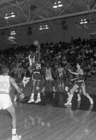 1986-1987 basketball action shot versus Ferris State University