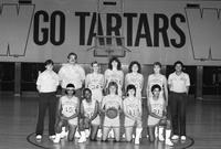 1984-1985 women's basketball team portrait.