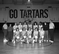 1986-1987 women's basketball team portrait.