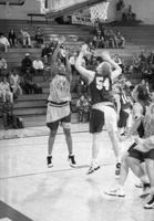 1999 women's basketball action shot versus Ashland.