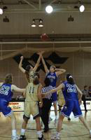 1996 women's basketball action shot versus Grand Valley State University