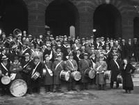 Old Newsboys; Band; On Steps Of City Hall; 1934