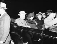 Roosevelt, Franklin D. in Detroit. in Automobile. with Frank Murphy & Mrs. Roosevelt
