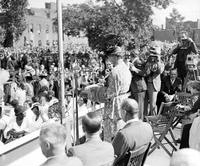 Roosevelt, Mrs. Franklin D. ; In Detroit. Opening slum clearance project at 651 Benton Street. Pagent by Brewster Street Settlement.